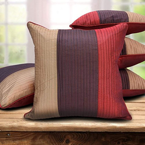 "Set of 5 Home Striped Cushion Cover 16"" x 16"" Multicolor"