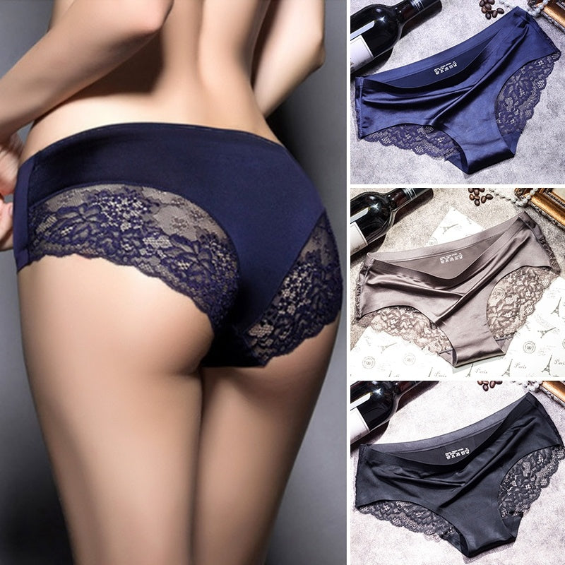 6d46a56c265 Women Sexy Lace Underpants Non-Trace Underwear Breathable Ice Silk Briefs  Fashion Women Sexy Panties