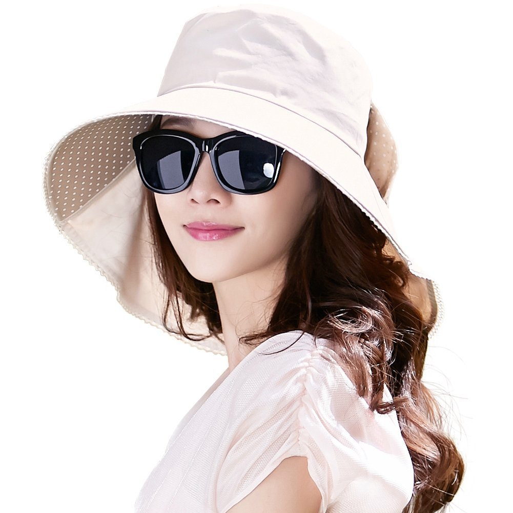 a2727557019 Protection Sun Hats Packable Summer Hat Women w Ponytail Chin Strap 55 –  JKK Mart