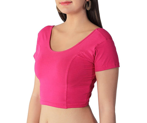 COTTON STRETCH LYCRA ROUND NECK READY TO WEAR SAREE BLOUSE WITH SHORT SLEEVES