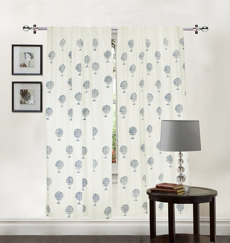 100% Cotton Jaipuri Hand Block Print White Long Door Curtain (Set of 2) Elephant