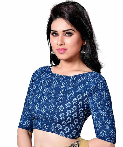 COTTON BLUE JAIPURI BLOCK PRINTED WOMENS SAREE BLOUSE WITH BOAT NECK AND ELBOW L
