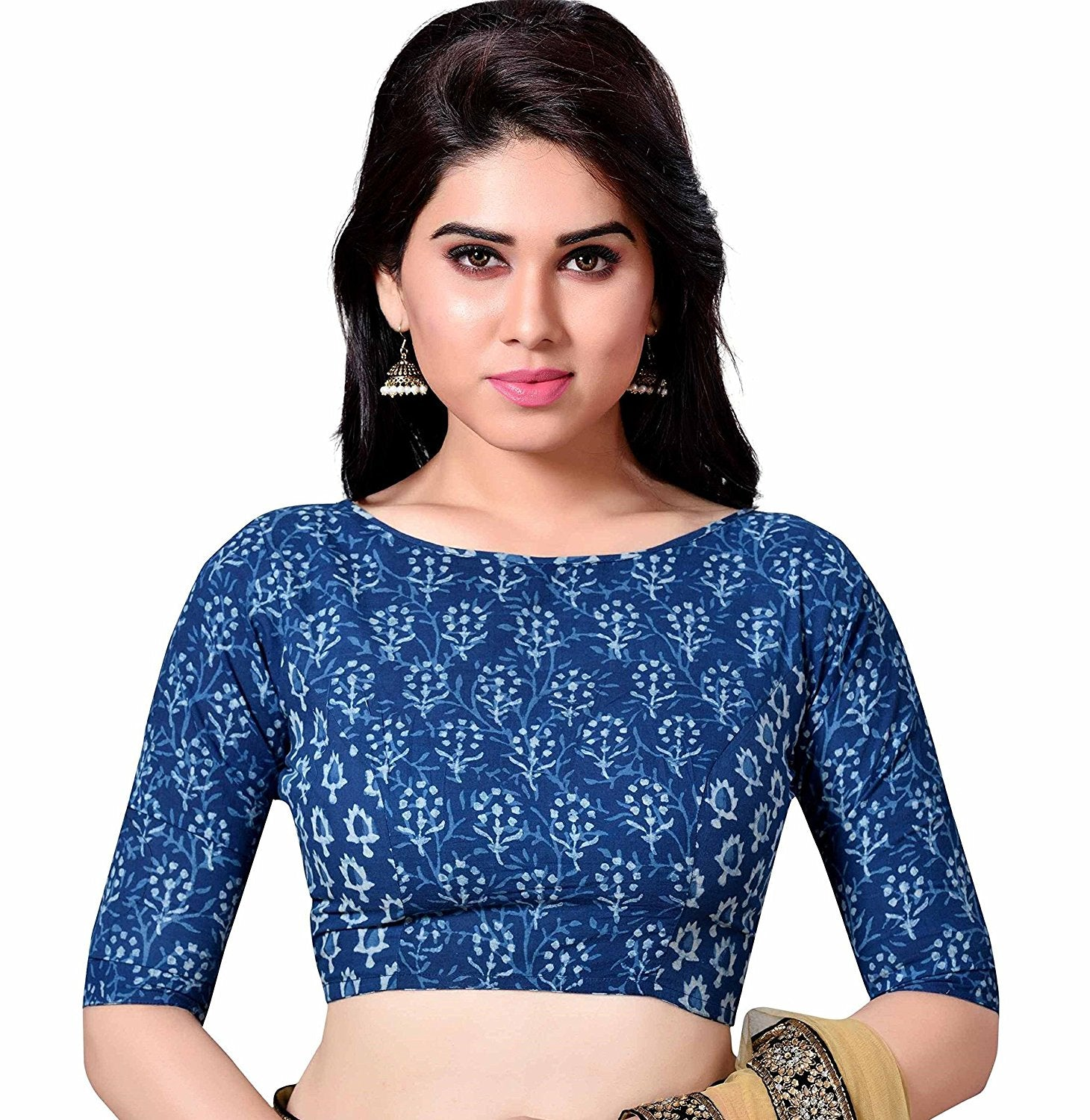 e5072696c28b1c COTTON BLUE JAIPURI BLOCK PRINTED WOMENS SAREE BLOUSE WITH BOAT NECK AND  ELBOW L