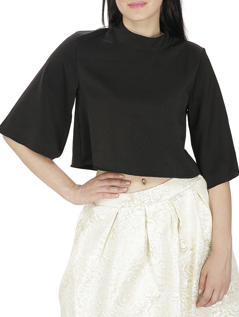 JKK Mart Black Faux Georgette Top , Tops - JKK Mart, JKK Mart - 4
