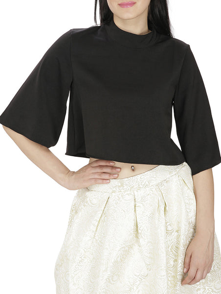 JKK Mart Black Faux Georgette Top , Tops - JKK Mart, JKK Mart - 1