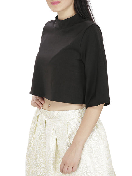 JKK Mart Black Faux Georgette Top , Tops - JKK Mart, JKK Mart - 2