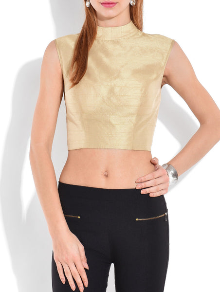 JKK Mart Solid Gold Silk Crop Top - JKK Mart