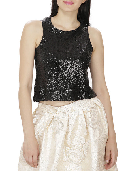 JKK Mart Black Sequined Crop Top - JKK Mart