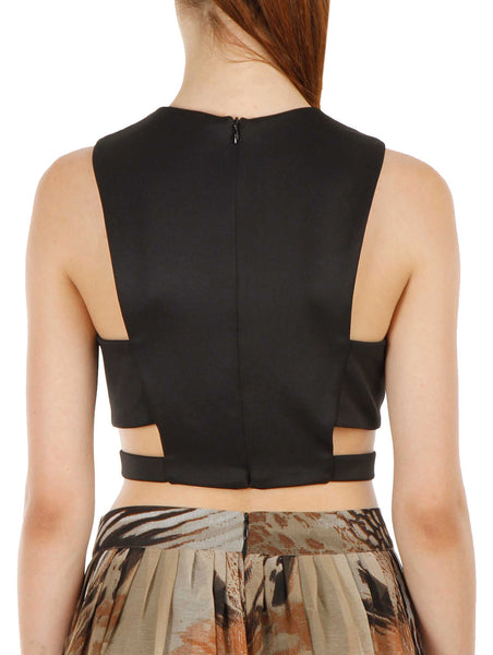 JKK Mart Paneled Round Neck Neoprene Crop Top - JKK Mart