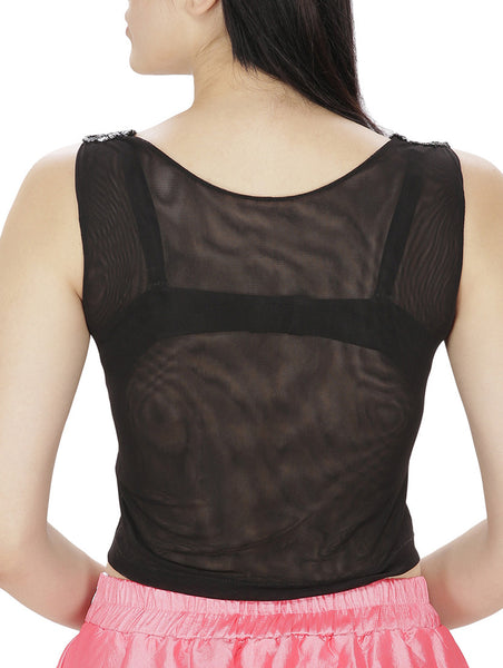 JKK Mart Black Faux Georgette Top - JKK Mart