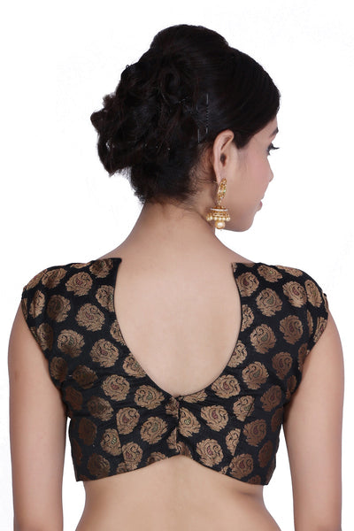 JKK Women's Black Brocade Stitched Wedding Bridal Saree Blouse Crop Top JKKCBL19 - JKK Mart