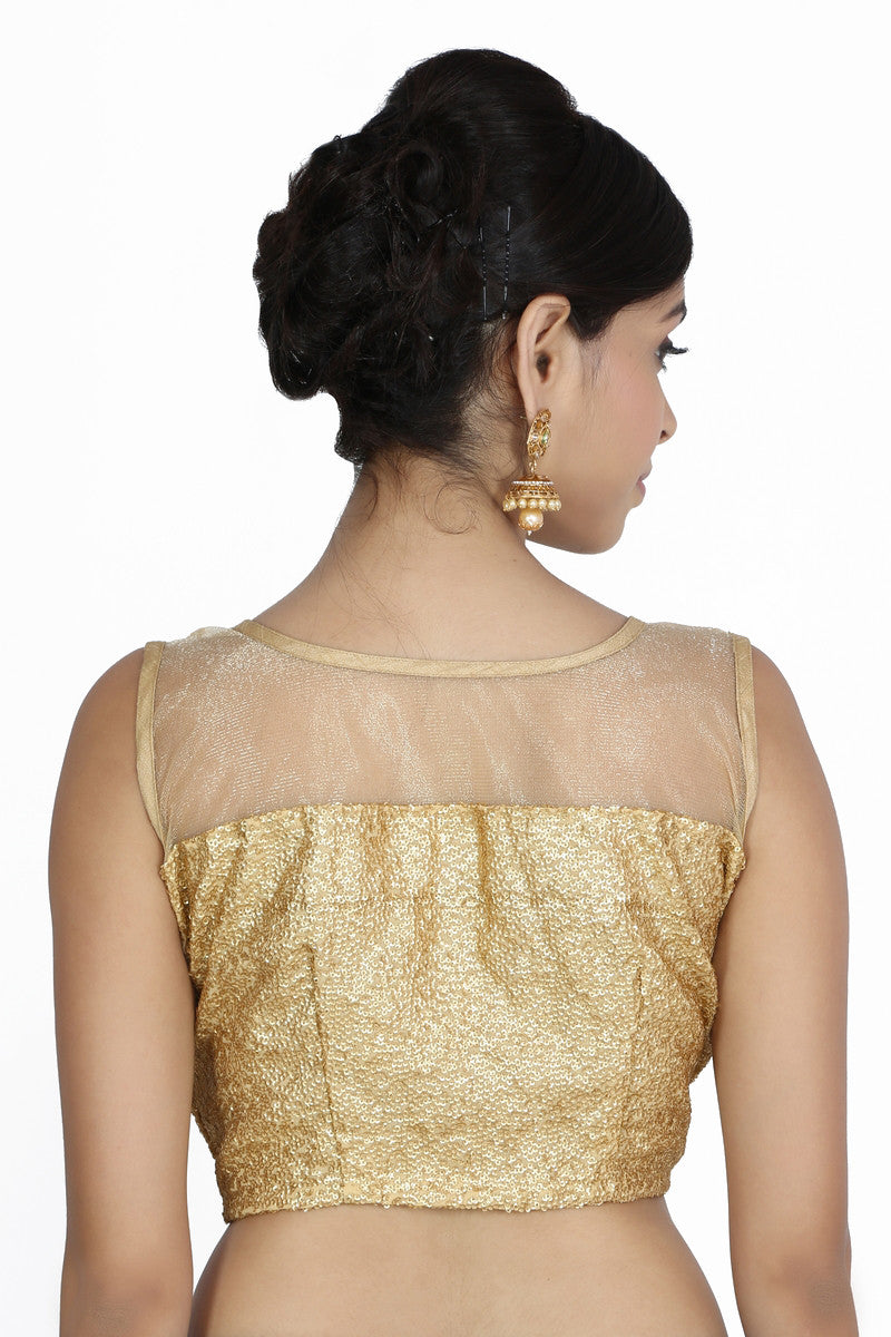 JKK Women's Golden Net Sequence Stitched Wedding Bridal Saree Blouse Crop Top CBL1 , Saree Blouse - JKK Indian Arts, JKK Mart - 3