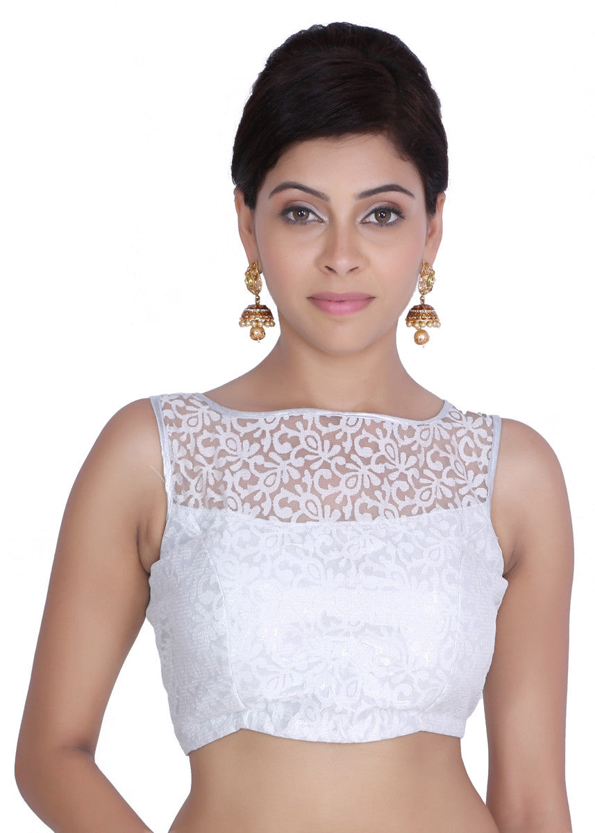 JKK Women's White Net Printed Stitched Wedding Bridal Saree Blouse Crop Top JKKCBL20 - JKK Mart