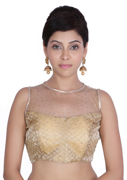 JKK Women's Golden Brocade Net Stitched Wedding Bridal Saree Blouse CropTop JKKCBL25 - JKK Mart