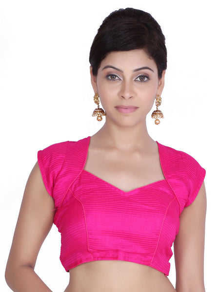 JKK Women's Pink Art Silk Stitched Wedding Bridal Saree Blouse Crop Top JKKCBL26 - JKK Mart
