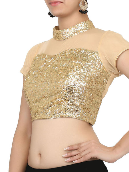 JKK Mart Gold Sequined blouse Ethnic embroided Saree Blouse JKKCBL35 - JKK Mart