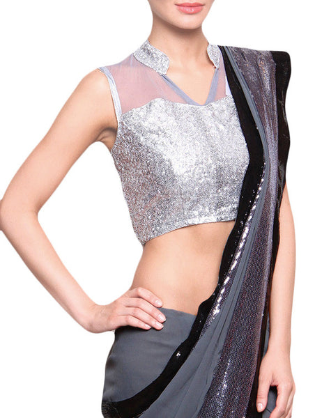 JKK Mart Silver Sequined Stitched Ethnic Saree Blouse Crop Top JKKCBL49 - JKK Mart