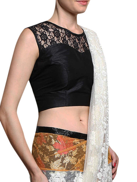 JKK Mart Black Floral Laced sleeveless Ethnic Saree Blouse JKKCBL50 - JKK Mart