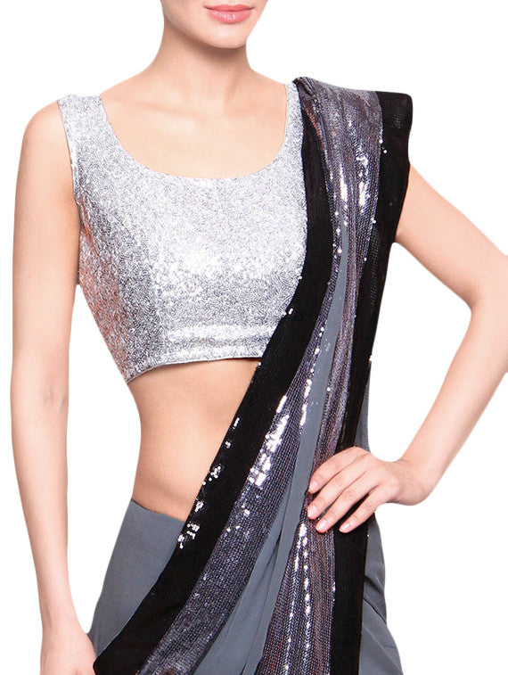 JKK Mart Silver Sequined Stitched Blouse With Back Dori JKKCBL77 - JKK Mart