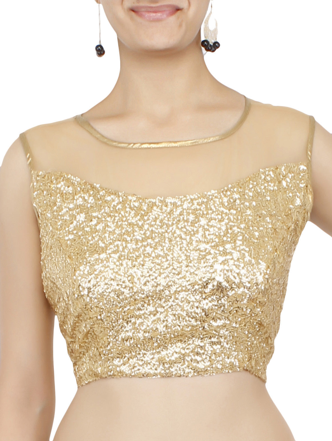 JKK Mart Golden Sequined Blouse JKKCBL80 , Saree Blouse - JKK Indian Arts, JKK Mart - 1