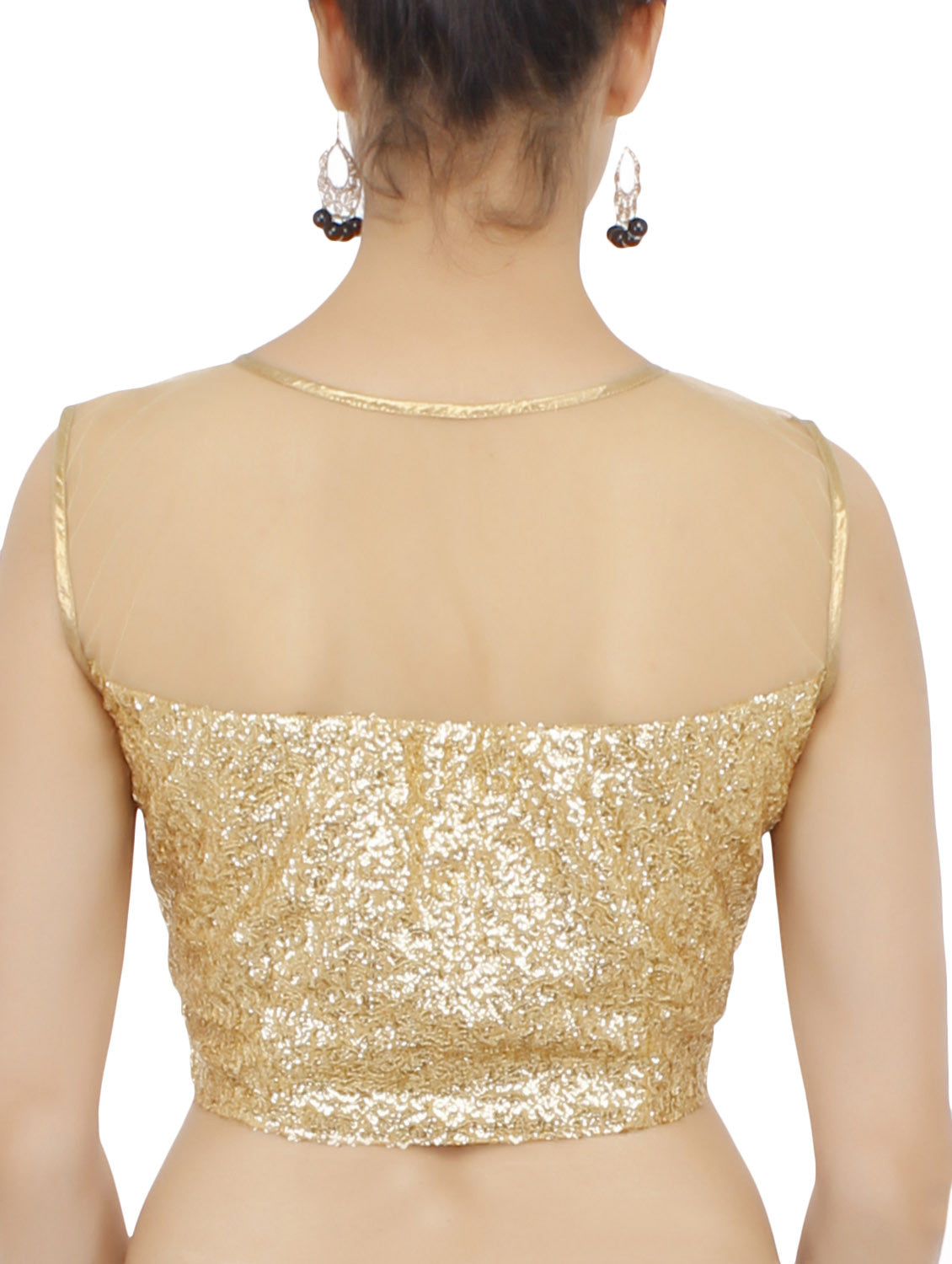 JKK Mart Golden Sequined Blouse JKKCBL80 , Saree Blouse - JKK Indian Arts, JKK Mart - 3