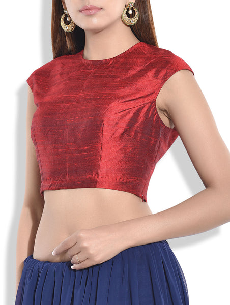 JKK Mart Solid Maroon Raw Silk Blouse JKKCBL88 , Saree Blouse - JKK Indian Arts, JKK Mart - 3