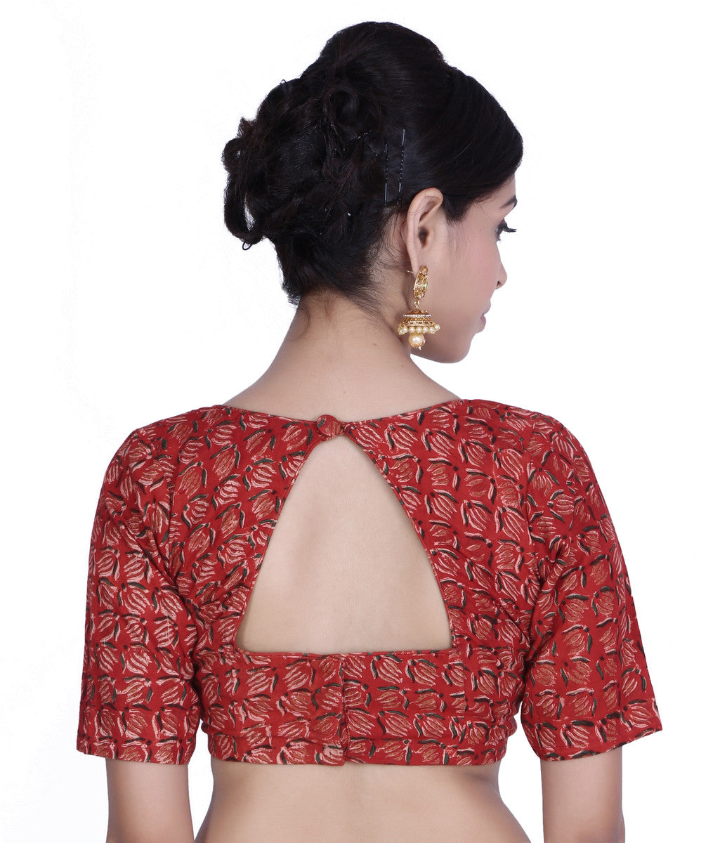 JKK Women's Red Stitched Printed Wedding Bridal Cotton Saree Blouse Crop Top JKKCBL9 - JKK Mart