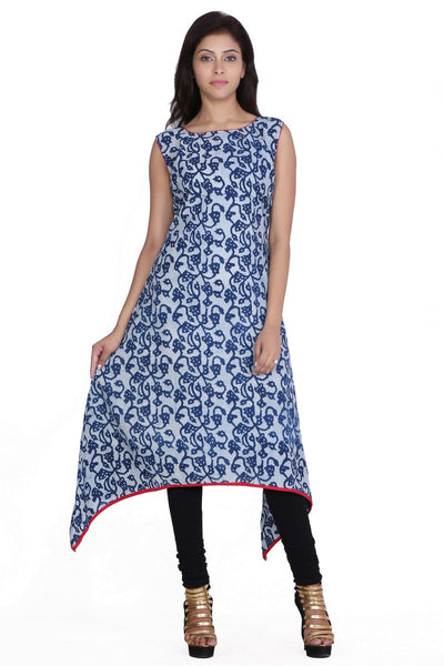 Jaipur kala kendra Women's Indian Ethnic Blue Printed  Trail Cut Cotton  Long Kurti Tunic  JKKCKB9 - JKK Mart