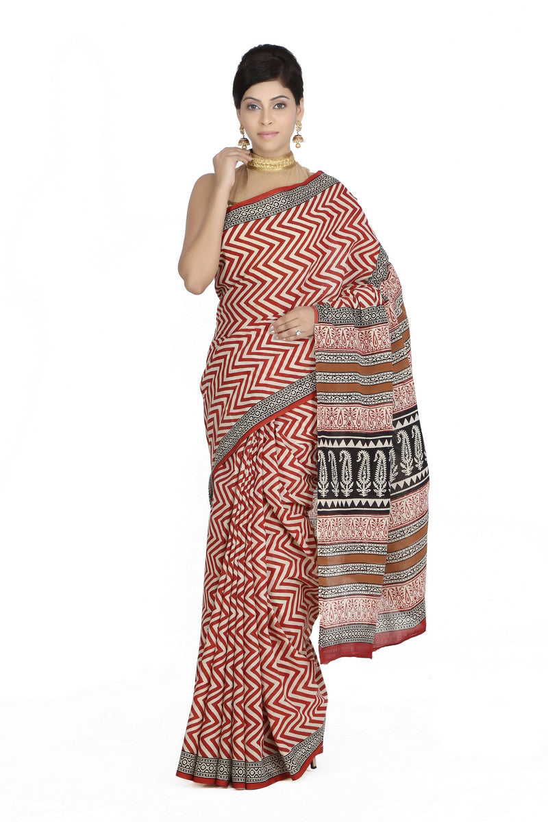 JKK Women's Indian Ethnic Wear Saree Cotton Handblock Printed Saree JKKCSR2 - JKK Mart