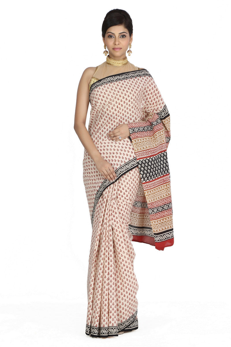 JKK Women's Indian Ethnic Wear Saree Cotton Handblock Printed Saree JKKCSR6 , saree - Jaipur Kala Kendra, JKK Mart - 1