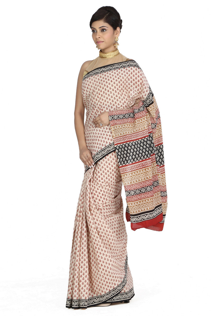 JKK Women's Indian Ethnic Wear Saree Cotton Handblock Printed Saree JKKCSR6 , saree - Jaipur Kala Kendra, JKK Mart - 2