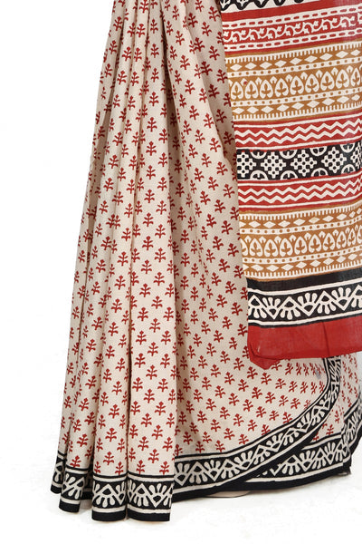 JKK Women's Indian Ethnic Wear Saree Cotton Handblock Printed Saree JKKCSR6 , saree - Jaipur Kala Kendra, JKK Mart - 3
