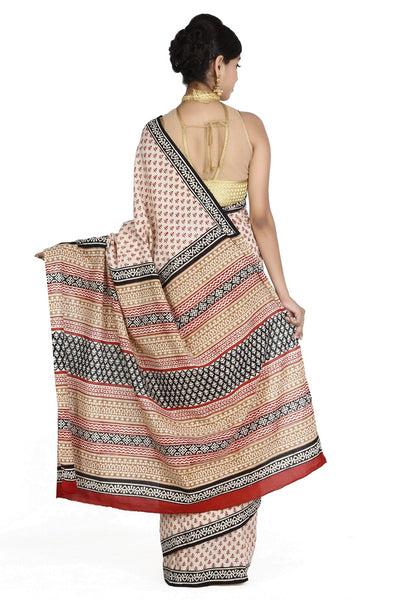 JKK Women's Indian Ethnic Wear Saree Cotton Handblock Printed Saree JKKCSR6 , saree - Jaipur Kala Kendra, JKK Mart - 4