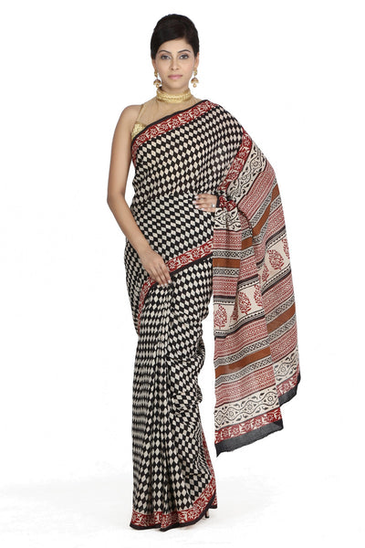 JKK Women's Indian Ethnic Wear Saree Black Cotton Check Printed Saree JKKCSR7 - JKK Mart