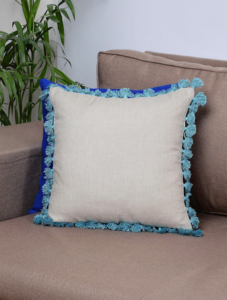Palampore Grey-Green Cotton Linen Cushion Cover with Tassels (Set of 2) - JKK Mart