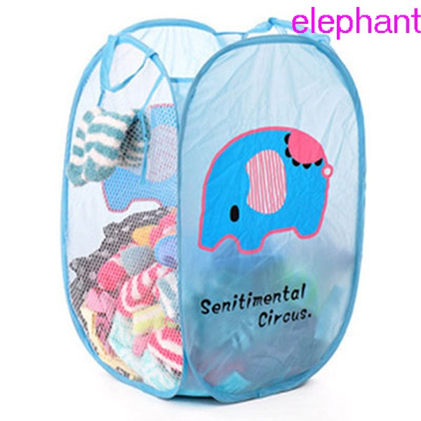1 Pc Folding Mesh Clothes Washing Laundry Basket Children's Toys Sundries Storage Box