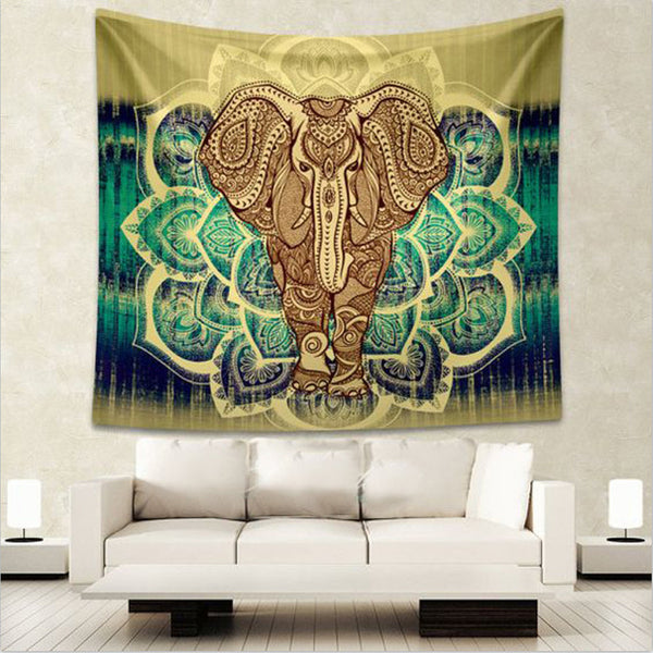 Elephant Tapestry Colored Printed Decorative Mandala Tapestry Indian Beach Blanket 130cmx150cm 153cmx203cm Boho Wall Carpet ,  - JKK Mart, JKK Mart - 1