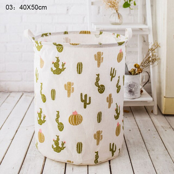1 Pc Folding Laundry Basket Cartoon Barrel Standing Toys Clothing Storage Bucket Laundry  Pouch Household Organizer