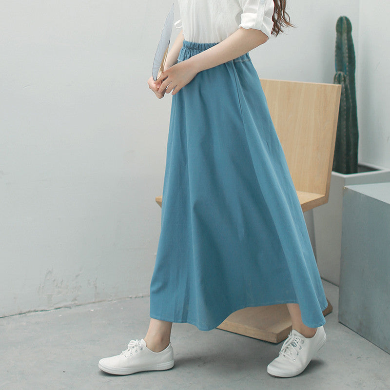 Chinese Style Vintage Cotton Linen Skirt Autumn Elastic High Waist Solid Color Long Skirts Green Blue Pleated Womens Saia Faldas - JKK Mart