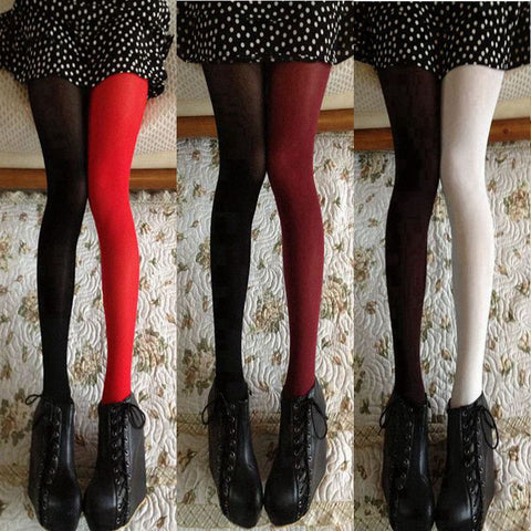 Tights Fashion Asymmetry Contrast Color Velvet Pantyhose Lady Girls Sexy Stockin - JKK Mart