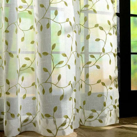 1 Pc Embroidery Leaves Sheer Tulle Curtains For Living Room  Window Screening Eyelets