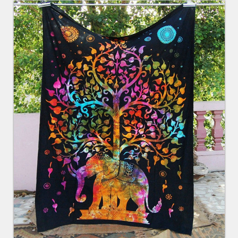 Elephant Tapestry Colored Printed Decorative Mandala Tapestry Indian Beach Blanket 130cmx150cm 153cmx203cm Boho Wall Carpet Color 1 / 203cmx153cm,  - JKK Mart, JKK Mart - 11