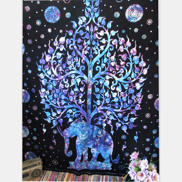 Elephant Tapestry Colored Printed Decorative Mandala Tapestry Indian Beach Blanket 130cmx150cm 153cmx203cm Boho Wall Carpet Color 2 / 203cmx153cm,  - JKK Mart, JKK Mart - 3
