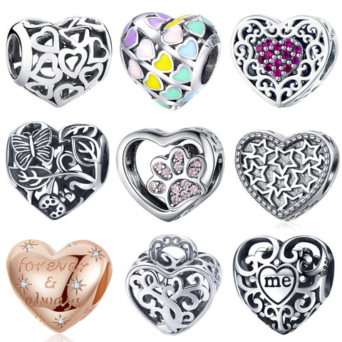1 Pc 925 Sterling Silver Love Heart Tree Of Life Puzzle Hearts Beads Fit Pan Bra