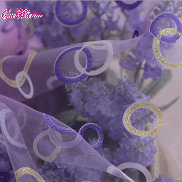 Curtain for Living Room Circle Tulle Sheer Curtain Voile Window Curtains Drapes Purple / 200 x 100cm,  - JKK Mart, JKK Mart - 2