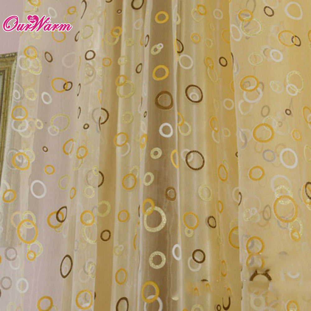 Curtain for Living Room Circle Tulle Sheer Curtain Voile Window Curtains Drapes Yellow / 200 x 100cm,  - JKK Mart, JKK Mart - 3
