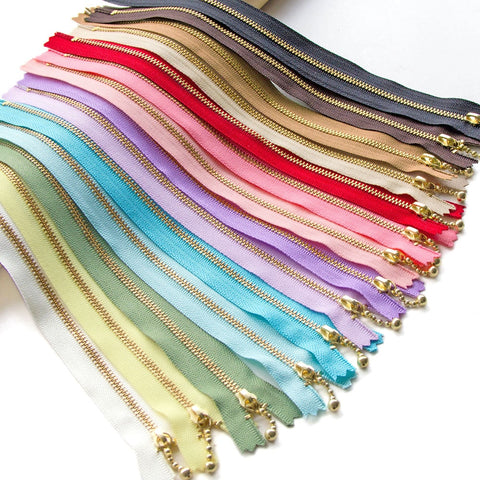 1pc Gold Tooth Metal Zipper Close-end Non Lock Bag Purse Zippers Patchwork Acces