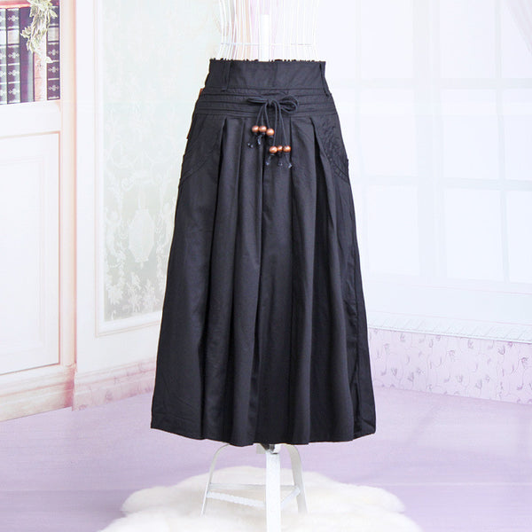 Women long skirt 2015 Summer Autumn saia longa Solid Linen skirt Maxi Skirts Women Big Pockets High Waist Pleated Casual Skirts black / One Size,  - JKK Mart, JKK Mart - 3
