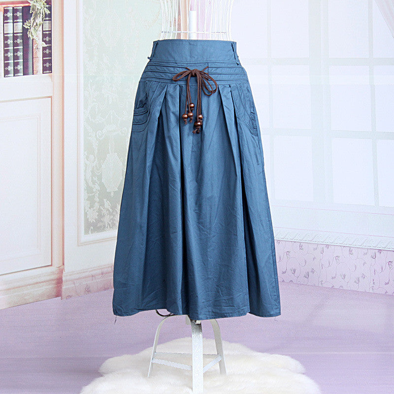 Women long skirt 2015 Summer Autumn saia longa Solid Linen skirt Maxi Skirts Women Big Pockets High Waist Pleated Casual Skirts light blue / One Size,  - JKK Mart, JKK Mart - 2