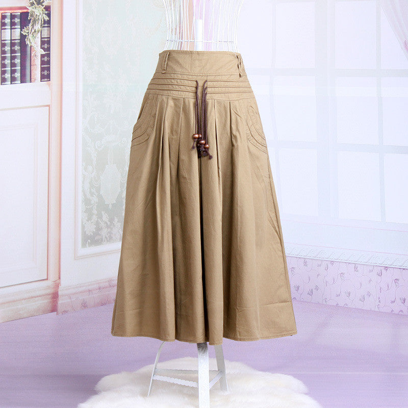 Women long skirt 2015 Summer Autumn saia longa Solid Linen skirt Maxi Skirts Women Big Pockets High Waist Pleated Casual Skirts Khaki / One Size,  - JKK Mart, JKK Mart - 4